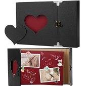 Firbon Album Foto, Scrapbook, Sticker Diario Creativo con Incisione a Forma di Cuore.Wedding Anniversary, Birthday, Mother's Day, Valentine's Day Idea Regalo(Nero)
