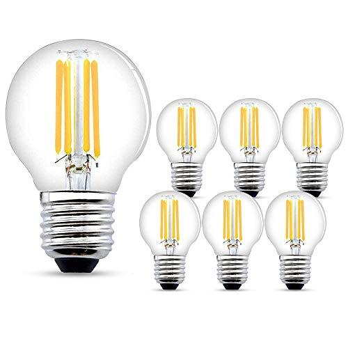 LED Glühbirne E27,6W LED E27 Warmweiss,540 Lumen Filament Lampe, ersetzt 60W Glühfadenlampe, 2700K Warmweiß Glühbirnen E27,6er Pack