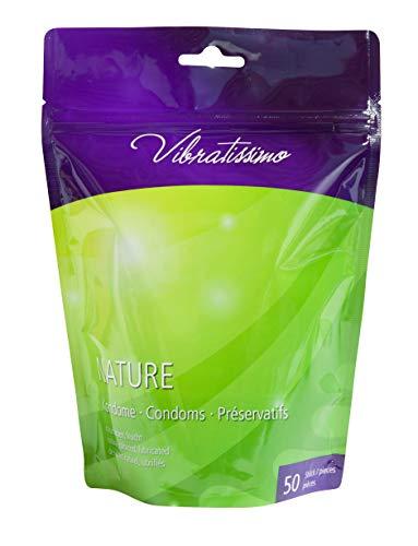 VIBRATISSIMO Nature Confezione da 50 profilattici per un piacere puro, una sensazione naturale ed extra umidità