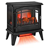KINGSO 23' Electric Fireplace Stove, Freestanding Fireplace Heater with 3D Realistic Flame and Remote Control, Indoor Electric Stove Heater, CSA Certified Overheating Safety Protection, 1400W