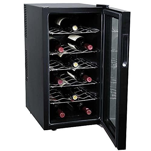 BAKAJI Cantina Refrigerante Bottiglie di Vino Cantinetta Frigo Elettrica con 18 Porta Bottiglie 52 Lt Potenza 70 W Doppia Temperatura Regolabile