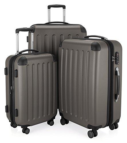 HAUPTSTADTKOFFER - Spree - 3er Koffer-Set Trolley-Set Rollkoffer Reisekoffer Erweiterbar, TSA, 4 Rollen, (S, M & L), Graphit