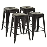 FDW Metal Bar Stools Set of 4 Counter Height Barstool Stackable Barstools 24 Inch Indoor Outdoor Patio Bar Stool Home Kitchen Dining Stool Backless Bar Chair,Black