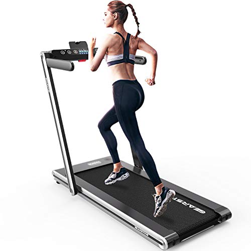 Foldable Treadmill, Electric Fitness Machine Treadmill, Bluetooth Speaker LCD Display up to 120kg for Home & Office (Silver)