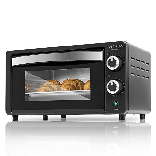 Cecotec Tisch- Umluftofen Bake&Toast - Kapazität von 10 Liter, 1000 W, Temperatur bis 230ºC und Timer bis 60 Minuten, Perfekt für Paninis und Gebäck, Inklusiver Krümelschublade. (Schwarz, 450)