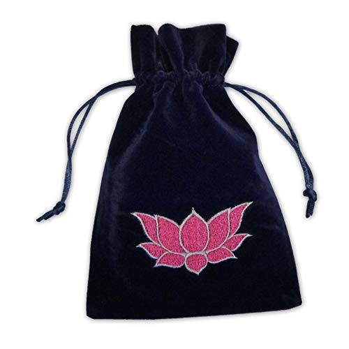 Find Something Different 826200045 - Bolso para Cartas de Tarot, Diseño de Flor de Loto, Terciopelo Azul