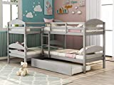 Four Bunk Bed Twin-Over-Twin-Over-Twin-Over-Twin L Shaped Bunk Bed with Trundle, Bunk Bed Can be Divided into 2 L-Shaped Beds for Accommodating 5, Family, Kids, Teens, No Box Spring Needed
