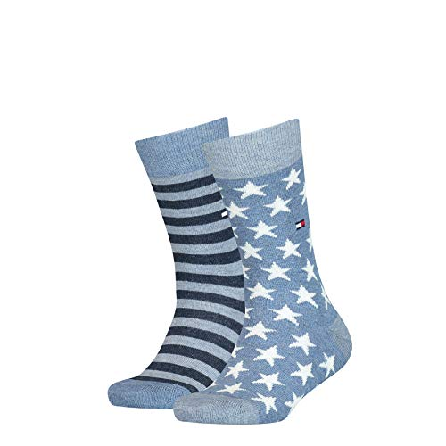 Tommy Hilfiger Stars And Stripes Kid's Socks (2 Pack) Calze, Jeans, 27-30 Unisex-Bambini