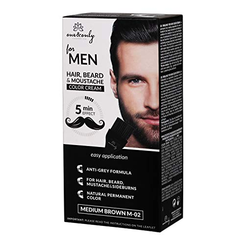One&Only for Men COLOR CREAM Moustache, Beard & Sideburns, Anti-grey Formel, 5 minuts, ammonia-free, parabnes-free, PPD-free, 60g, (MEDIUM BROWN)