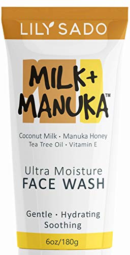 LILY SADO Coconut Milk & Manuka Honey Natural Face Cleanser - Organic Gentle Facial Wash - Moisturizing Vegan Formula Gently Hydrates & Moisturizes - Reduces Pores & Blackheads - for All Skin Types