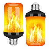 Y- STOP LED Flame Effect Fire Light Bulb, Upgraded 4 Modes Flickering Fire Christmas Decorations Lights, E26 Base Flame Bulb with Upside Down Effect(2 Pack)