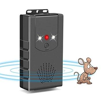 Coquimbo Répulsif à Ultrasons pour Parasites, Électronique Répulsif à Rat, Rejet des Souris et des Rongeurs avec Lampes Stroboscopiques à LED, Charge de 3 en 1, pour Anti Martres, Fouines (1 Pièce)