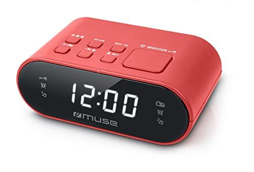 Muse M-10 RD Radiowecker mit LED-Display, Zwei Weckzeiten, dimmbar, digitaler UKW-Tuner, 20 Senderspeicher, rot