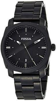 Fossil Men's Machine 3H Quartz Stainless Three-Hand Watch, Color: Black, Black Dial (Model: FS4775)