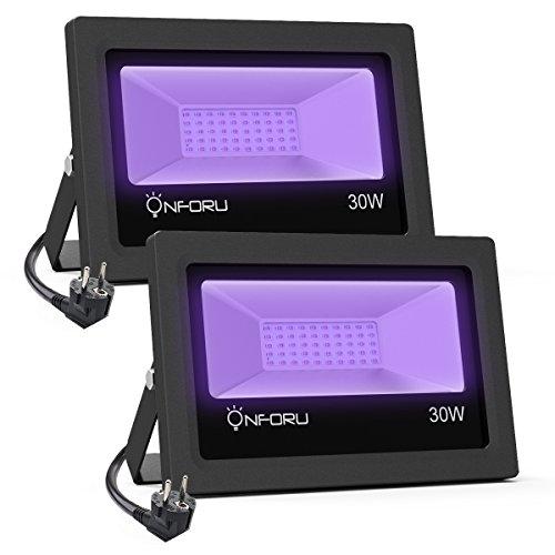Onforu 30W Faretto UV LED, Faro UV LED con spina, Fari UV LED IP66 Impermeabile, Faretto Luce Nera,...