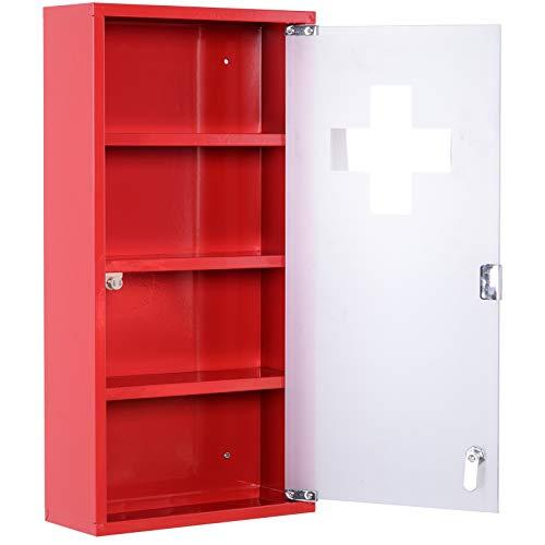 homcom Cassetta Porta Medicine Armadietto Medicinali 4 Livelli Porta in Vetro 603012cm Rosso
