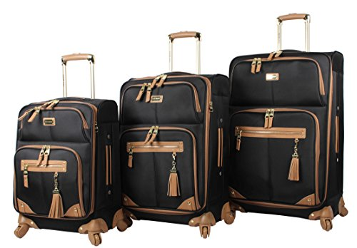 Steve Madden Designer Luggage Collection - 3 Piece Softside Expandable Lightweight Spinner Suitcase Set - Travel Set includes 20 Inch Carry on, 24 Inch & 28-Inch Checked Suitcases (Harlo Black)