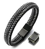 Halukakah ● Jazz ● Men's Genuine Black Leather Bracelet Titanium Magnetic Clasp Size Adjustable 8.5'-9'(21.5-23cm) with Free Giftbox(Gun Black)