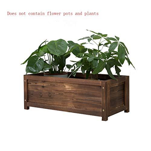 LYLQQQ Siembra macetero de Madera Maceta Rectangular con Soporte de Madera carbonizada a través de la Flor Engrosamiento macetero Dos tamaños Opcional Puesto de Flores (Size : 80×40×30cm)