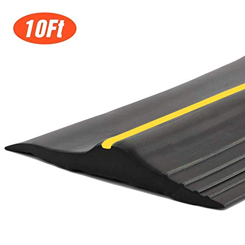 10Ft/3M Universal Garage Door Rubber Threshold Strip, Weatherproof Seal Strip DIY Weather Stripping Replacement, Not Include Adhesive/Sealant (Black)