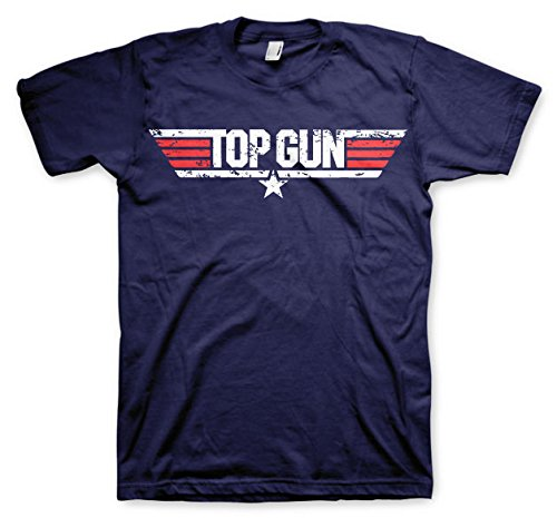 Top Gun Licenza Ufficiale Distressed Logo Maglietta Uomo Mezze Maniche (Blu Marino), Small