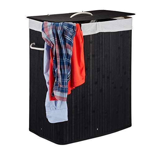 Relaxdays Wäschekorb Bambus mit Deckel, rechteckiger Wäschesammler, 2 Fächer, 95 l Volumen, faltbare Wäschebox, schwarz