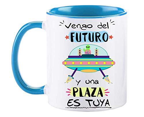 FUNNY CUP Taza Opositor. Vengo del Futuro y una Plaza es Tuya. Taza de oposiciones para Regalo al Estudiante. Taza Color (Azul)