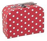 Bieco Kinderkoffer Rot mit weißen Punkten, Koffer aus Pappe, 25 cm, Metallgriff, für Kinder AB 3 Jahre Equipaje Infantil, 4 Liters, Rojo (Rot)