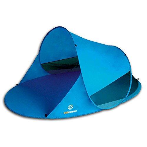 outdoorer Pop up Strandmuschel Zack II blau - Wurf-Strandmuschel mit UV-Schutz 60, Sonnenzelt als Schattenspender am Strand