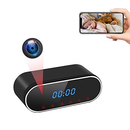 Telecamera Nascosta WiFi, UYIKOO Telecamera Spia Orologio Sveglia, HD 1080P Mini Spy Cam 140° Grandangolare con Visione Notturna e Rilevamento del Movimento