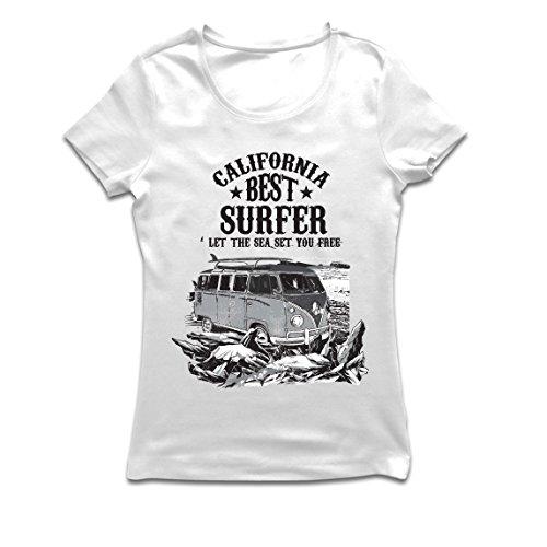 lepni.me Maglietta Donna California Migliore Surfista - Vacanze estive in Spiaggia, Stile Surf, Furgone, Viaggio Design (XX-Large Bianco Multicolore)
