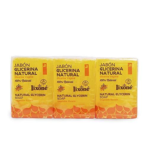 Lixone - Jabón de glicerina natural, Pack de 3 x 125 gr