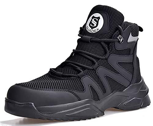 SUADEX おしゃれ 軽量 安全靴 ハイカット あんぜん靴 はいかっと 安全 セーフティブーツ 作業靴 安全はいカット 黒 作業半長靴 ショートブーツあんぜん 鋼先芯 耐摩耗 ケブラー防刺 耐滑