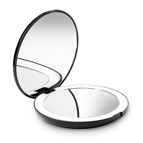 Fancii LED Lighted Travel Makeup Mirror, 1x/10x Magnification - Daylight LED, Compact, Portable, Large 5 Wide Illuminated Folding Mirror