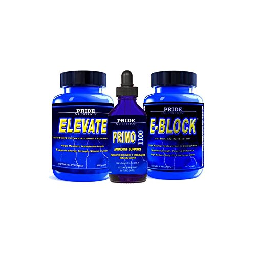 #1 Muscle Building Stack- 3 Bottle's - Men's Booster, Estrogen Blocker & Liquid Muscle Builder Supplement - Natural Stamina, Endurance, Recovery and Strength Booster - 1 Month Supply