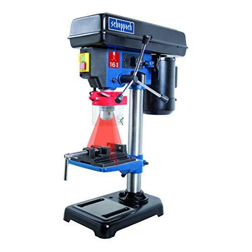 Scheppach 5906808901 Bohrmaschine / Tischbohrmaschine DP16VL   vielseitige Einsatzmöglichkeiten, für Holz, Metall und alle gängigen Kunststoffe, Positionslaser   max. 16 mm Bohrfutter, 500 W