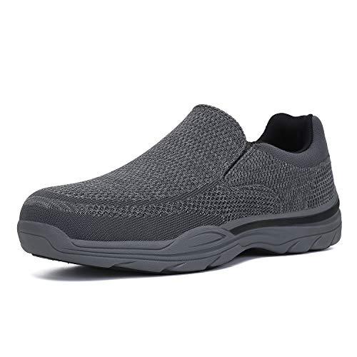 PAMRAY Zapatos de Mocasines Hombre Loafer Slip On Zapatillas Cómodo Calzado de Walking para Hombre Gris 44