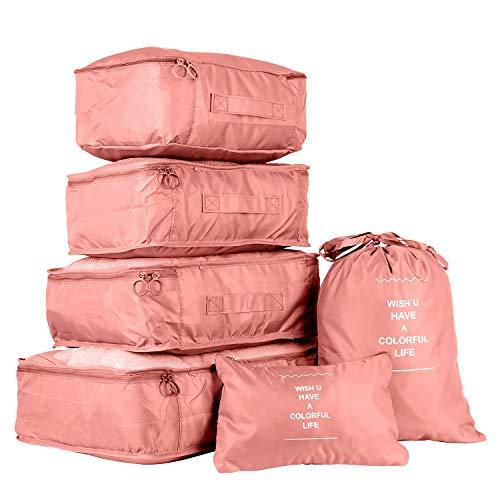 Reisegepck Koffer Organizer Set 6-teilig - Packtaschen kleidertaschen fr Kleidung Kosmetik Schuhbeutel Kabel Aufbewahrungstasche, Reisen Organizer Tasche Rosa