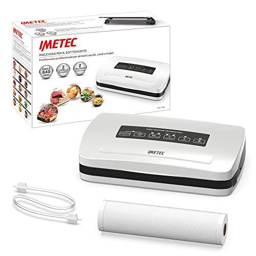 Imetec VM2 1500 Macchina Sottovuoto per Alimenti, Sigillatrice Automatica e Manuale con 6 Funzioni, Aspirazione 840 mbar, Velocit 12 L/min, Rotolo per Sacchetti 30 x 600 cm