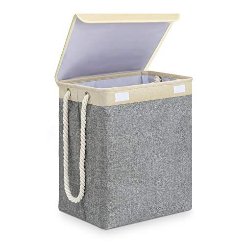 SAWAKE Wäschekorb mit deckel, faltbarer Wäschekorb groß mit Griffen Leinen Aufbewahrungskorb mit Deckel Haltbarer Wäschesammler wasserdichtes Inneres Wäschekorb mit Leinen Henkel laundry basket grau