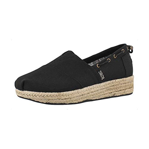 Skechers Highlights-Set Sail, Alpargata Mujer, Negro (BLK Black Canvas), 37 EU