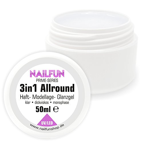 50ml 3in1 Prime Allround Gel - Monophase Gel klar dickviskose säurearm selbstglättend - einsetzbar als Haftgel, Aufbaugel und Finishgel - UV- und LED härtend