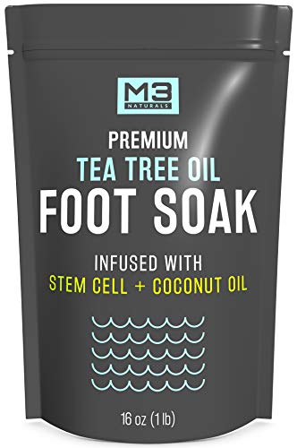 M3 Naturals Tea Tree Oil Foot Soak Infused with Stem Cell - Epsom Salt Foot Spa for Athletes Foot, Toenail Fungus, Callus Remover, Stubborn Foot Odor - Essential Pedicure Foot Bath for Tired Feet 16oz