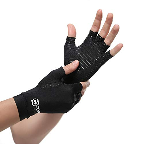 Copper Compression Arthritis Gloves - Guaranteed Highest Copper Content. Best Copper Infused Fit Glove for Women and Men. Carpal Tunnel, Computer Typing, and Everyday Support for Hands (1 Pair)