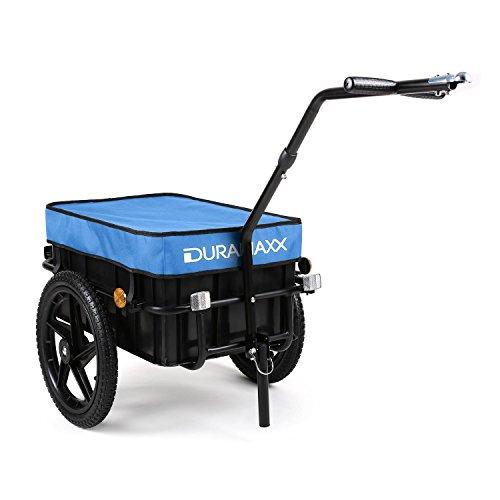 Duramaxx Big-Mike - Fahrradanhänger, Lastenanhänger, Handwagen, mit Hochdeichsel, Transportbox mit 70 Liter Volumen, Tragkraft: max. 40 kg, Kugel-Kupplung für Fahrräder mit 26\'\' - 28\'\', blau