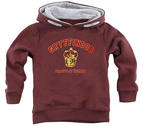 HARRY POTTER Gryffindor - Brave At Heart Unisex Felpa con Cappuccio Bordeaux 116 100% Cotone Regular