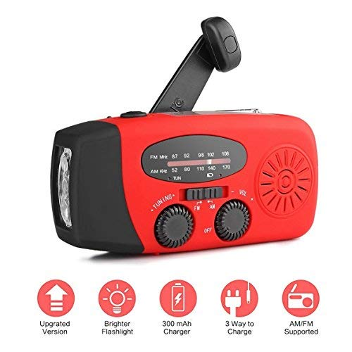 Radio AM/FM ad energia solare ricaricabile con manovella, funziona come torcia a LED e...
