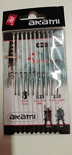 AKAMI Dieci Ami legati Serie 5115N con terminale, Amo Misura 8 Gambo Lungo, Diametro Filo 0.20mm, Lunghezza terminale 2 Metri.