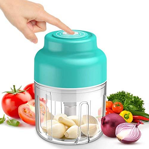 Mini-Zerkleinerer für Lebensmittel, kabellos, tragbar, 250 ml, Mixer, Küchenmaschine, Mini-USB-Aufladung, Knoblauchzerkleinerer für Gemüse, Gewürze, Gewürze, Babynahrung