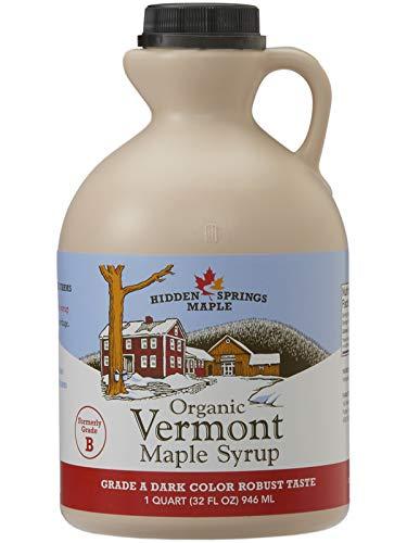 Hidden Springs Maple Organic Vermont Maple Syrup, Grade A Dark Robust (Formerly Grade B), 32 Ounce, 1 Quart, Family Farms, BPA-free Jug